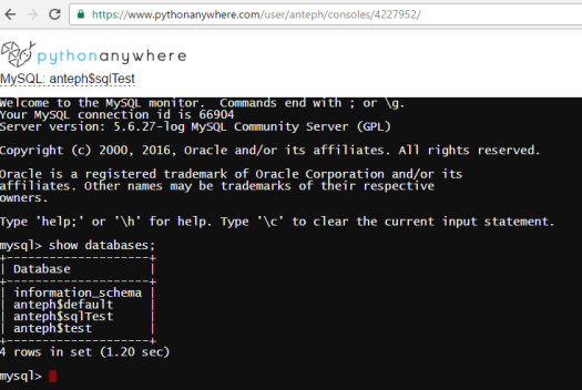 python-anywhere-show-databases-command