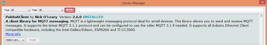 Arduino MQTT Pub Sub library