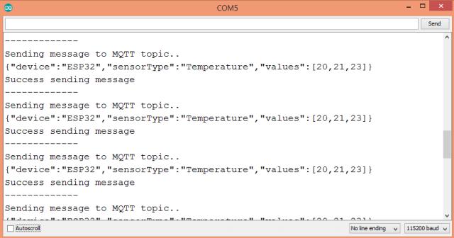ESP32 Sending JSON over MQTT