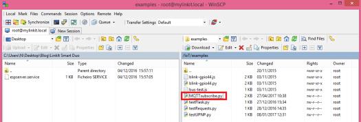 LinkIt Smart WinSCP MQTT file creation