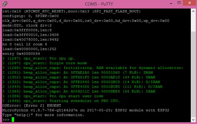 ESP32 MicroPython prompt