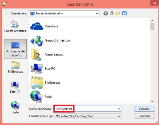 FireBeetle ESP32 inf file