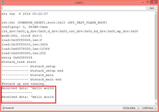 ESP32 Bluetooth RFCOMM receive data