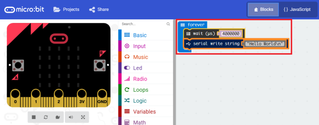 MicroBit Board Hello World Blocks Editor JavaScript