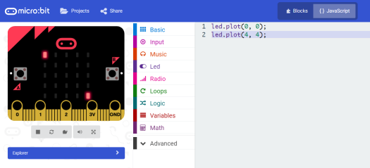 microbit board simulation turn on LED.png