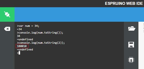 ESP32 Espruino toString binary