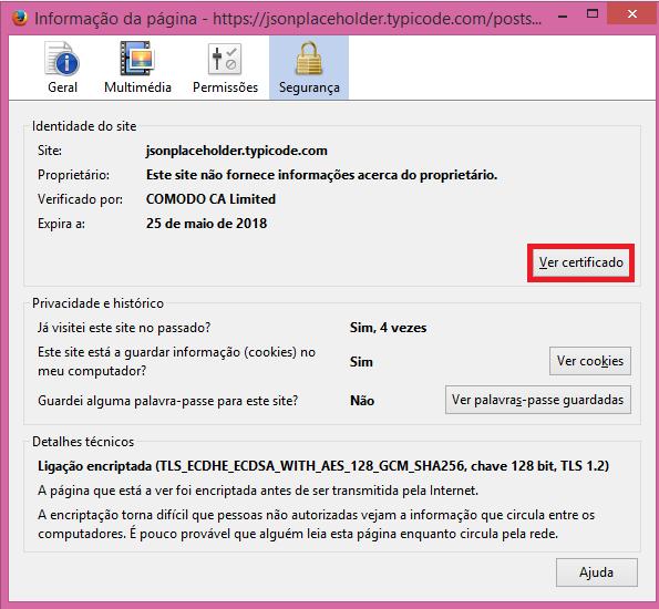 Firefox view certificate popup