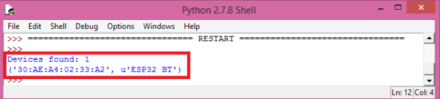 ESP32 Arduino Bluetooth: Finding the device with Python