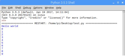 Python IDLE Raspberry Pi script output
