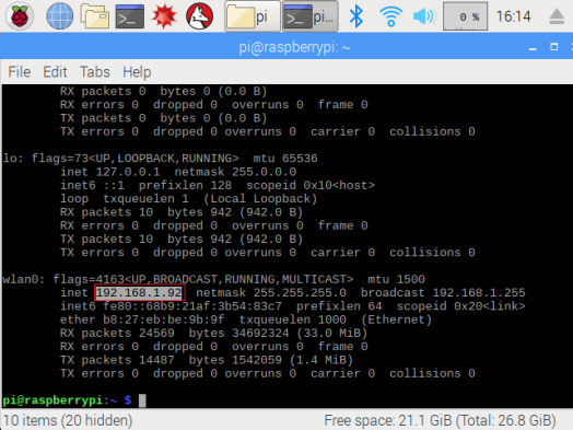 Raspberry Pi ifconfig command output.png