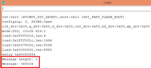 Output of protocol buffers encoding program in Arduino IDE serial monitor