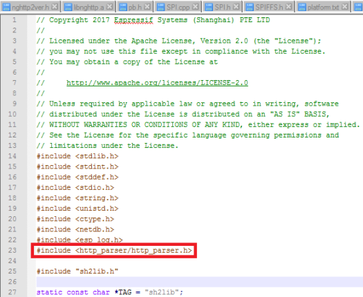 Changing the includes of the sh2lib.c file