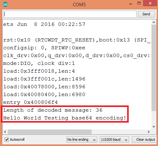 Ouput of decoding a base64 encoded string using the ESP32 and the Arduino core