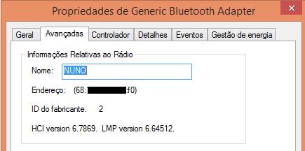 Bluetooth address of a computer